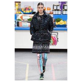 Chanel-8K$ Supermarket tweed coat / jacket-Black