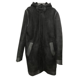 Givenchy-Givenchy hooded coat in black shearling lambskin with smooth leather insert in size 48 Ital.-Black