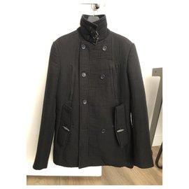 "John Galliano-Very nice black quilted cotton pea coat by ""John Galliano"" in size 48 Italian.-Black"