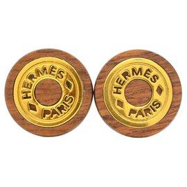 Hermès-Boucle d'oreille Hermès-Doré