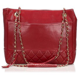 Chanel-Chanel Red Timeless Lambskin Leather Chain Tote Bag-Red