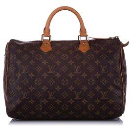 Louis Vuitton-Louis Vuitton Brown Monogram Speedy 35-Brown