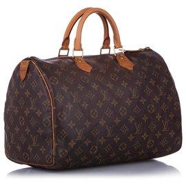 Louis Vuitton-Louis Vuitton Monogram Brown Speedy 35-Marron