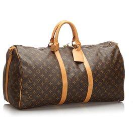 Louis Vuitton-Louis Vuitton Brown Monogram Keepall Bandouliere 55-Brown