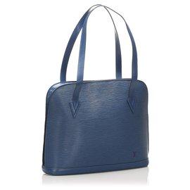 Louis Vuitton-Louis Vuitton Blue Epi Lussac-Bleu,Bleu foncé