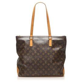 Louis Vuitton-Louis Vuitton Brown Monogram Cabas Mezzo-Brown