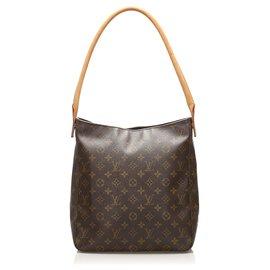 Louis Vuitton-Louis Vuitton Brown en boucle avec monogramme GM-Marron