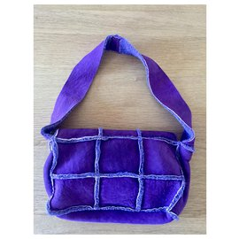 Chanel-Chanel purple suede bag-Purple