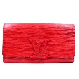 Louis Vuitton-Louis Vuitton Red Epi Leather Bifold Long Wallet-Red