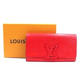 Louis Vuitton-Portefeuille long à deux volets en cuir épi rouge Louis Vuitton-Rouge