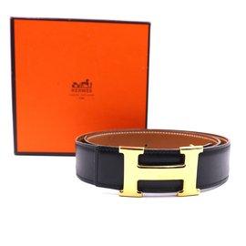 Hermès-Hermes 32mm Classic H Reversible Leather Belt Size 76-Black