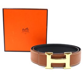 Hermès-Hermes 32mm Classic H Reversible Leather Belt Size 74-Brown