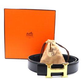 Hermès-Hermes 32mm Classic Gold H Reversible Leather Belt Size 65-Black