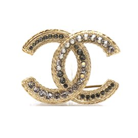 Chanel-Chanel Gold Timeless CC Crystals Hardware Brooch-Golden