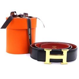 Hermès-Hermes 32mm Classic Gold H Reversible Leather Belt Size 85-Black