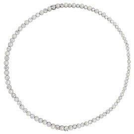 Van Cleef & Arpels-Collier Van Cleef & Arpels en platine, perles fines et diamants.-Autre