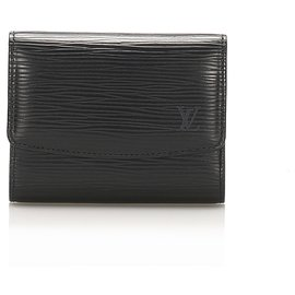 Louis Vuitton-Louis Vuitton Black Epi Porte Monnaie Billets Tresor Wallet-Black