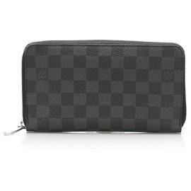 Louis Vuitton-Louis Vuitton Black Damier Graphite Zippy Long Wallet-Black,Grey