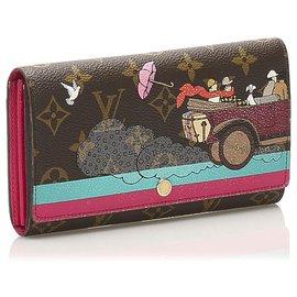 Louis Vuitton-Louis Vuitton Brown Monogram Illustre Evasion Sarah Long Wallet-Brown,Multiple colors