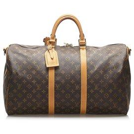 Louis Vuitton-Louis Vuitton Brown Monogram Keepall Bandouliere 50-Brown