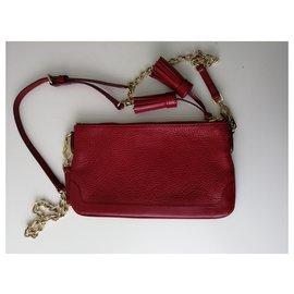 Burberry-Pebbled Leather Slim Peyton Crossbody Bag Military-Red
