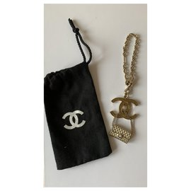 Chanel-Bag charms-White,Golden