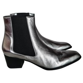 Tom Ford-LEATHER TF ANKLE BOOT-Silvery