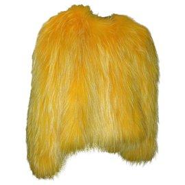 Balmain-Runway Balmain top in yellow raccoon fur-Yellow