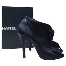 Chanel-Chanel Black Satin CC Logo Booties Sz.40-Black