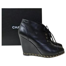 Chanel-Chanel Black Leather Chain Lace Up Wedges Booties Sz.40-Black