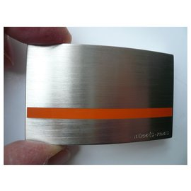 Hermès-HERMES Men's belt buckle New Rare model 32 MM-Silvery
