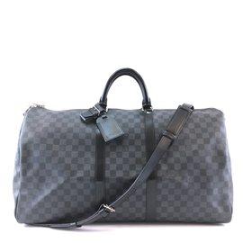 Louis Vuitton-Louis Vuitton Keepall Bandouliere 55 Damier Graphite Canvas-Black