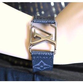 Louis Vuitton-Louis Vuitton Monogram Eclipse Lv Logo Ruthenium Bracelet-Black