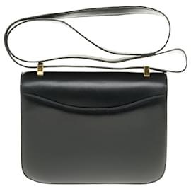 Hermès-Splendide Hermès Constance en cuir box noir, garniture en métal doré en superbe état-Noir