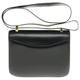 Hermès-Splendid Hermès Constance in black box leather, gold-tone metal trim in superb condition-Black
