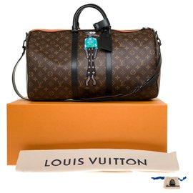 "Louis Vuitton-New / Limited edition / Spring-Summer men's fashion shows 2021/ Louis Vuitton Keepall 50 ""Friends"" shoulder strap-Brown,Black,Orange"