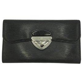 Louis Vuitton-Louis Vuitton Black Epi Portefeuille Eugenie Wallet-Black