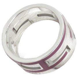 Hermès-Hermes Silver Move H Ring-Silvery,Purple