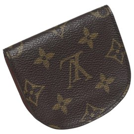 Louis Vuitton-Louis Vuitton Brown Monogram Porte Monnaie Gousset Coin Pouch-Brown