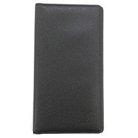 Louis Vuitton-Louis Vuitton Black Taiga Long Wallet-Black
