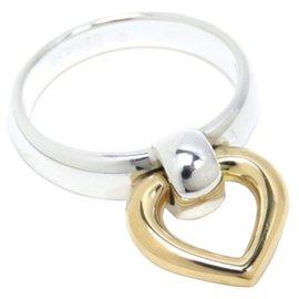 Hermès-Hermes Silver 18K Heart Ring-Silvery,Golden