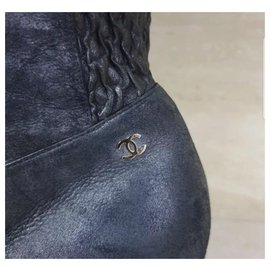 Chanel-Chanel CC Logo Black Leather Over Knee Boots Sz. 39-Black