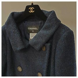 Chanel-Chanel Navy Wool Coat  Sz.36-Navy blue