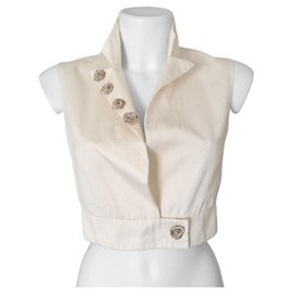 Cacharel-Ceremony vest in silk and cotton with fabric roses-Cream