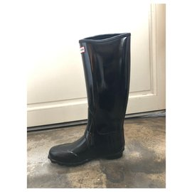 Hunter-Hunter black Wellington boots-Black