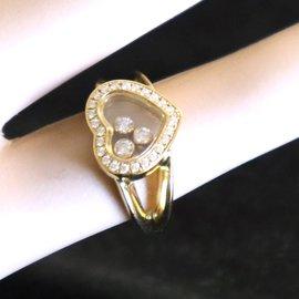 Chopard-Chopard 18k Yellow Gold Heart Moving Diamonds Ring Size 5-5.25-Golden