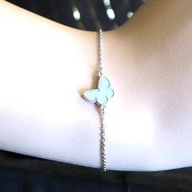 Van Cleef & Arpels-Van Cleef & Arpels Bracelet Sweet Alhambra Papillon Turquoise Or Blanc-Argenté