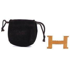 Hermès-Hermes Gold 24mm H Lizard Skin Inlay Buckle-Golden