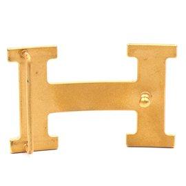 Hermès-Hermes 32mm Gold Constance H Logo Buckle-Golden