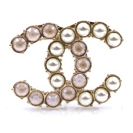Chanel-Chanel Gold Pearls CC Smoked Stones Brooch-Golden